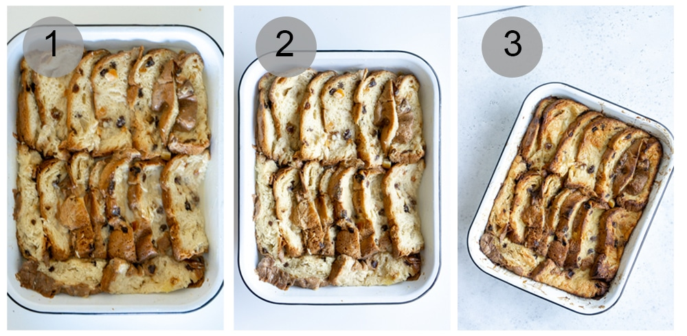 Step by step photos on how to make panettone bread pudding