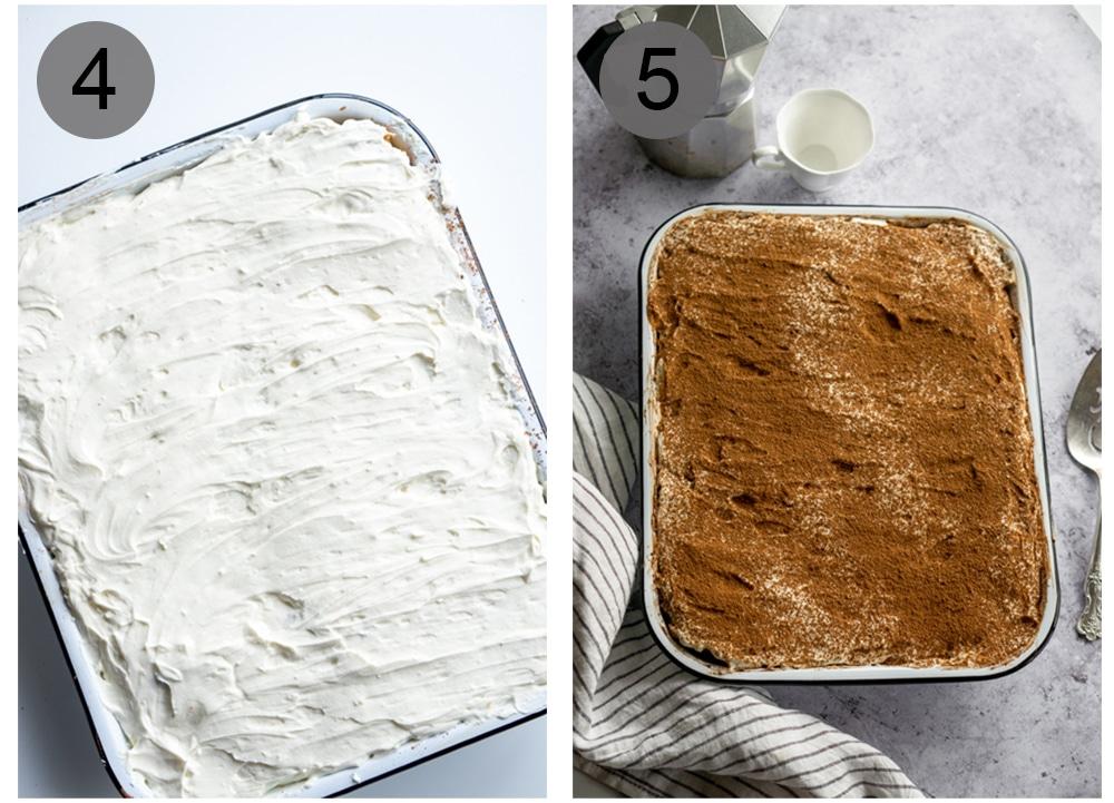 Step by step photos on how to make pandoro tiramisu (steps #4-5)