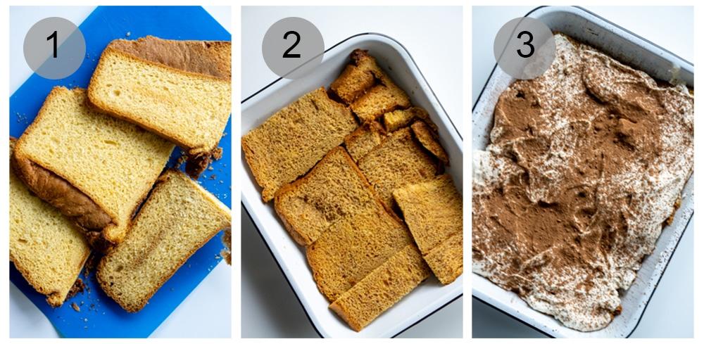 Step by step photos on how to make pandoro tiramisu (steps #1-3)