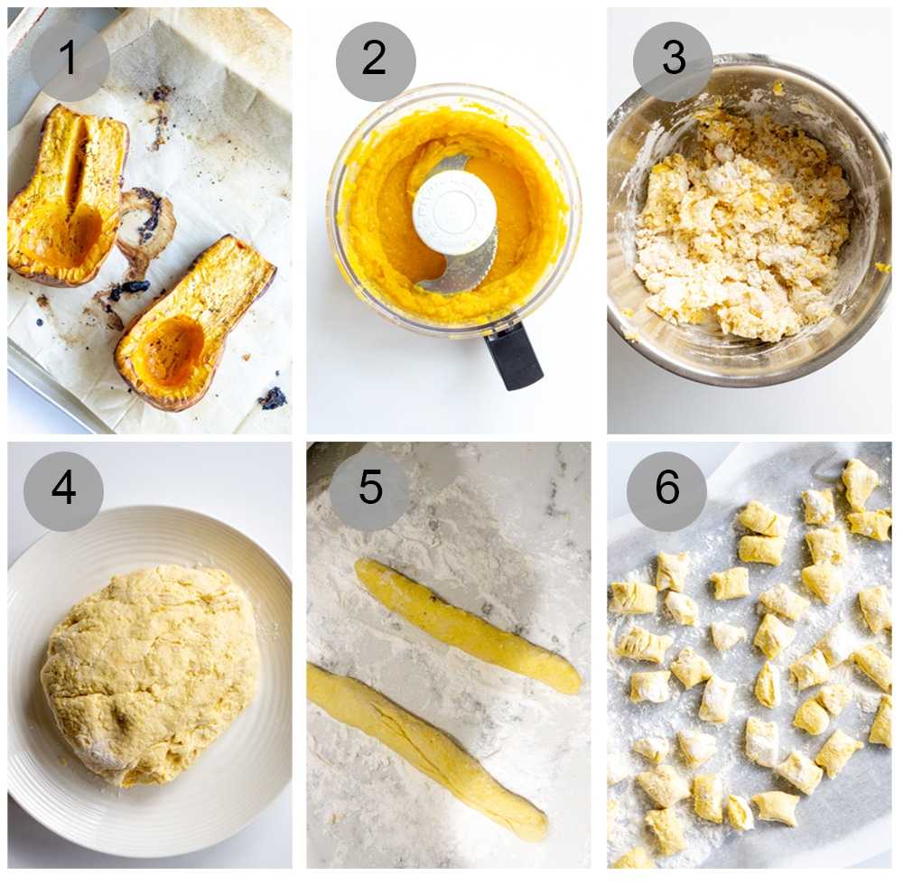 Step by step photos on how to make butternut squash gnocchi (#1-6)
