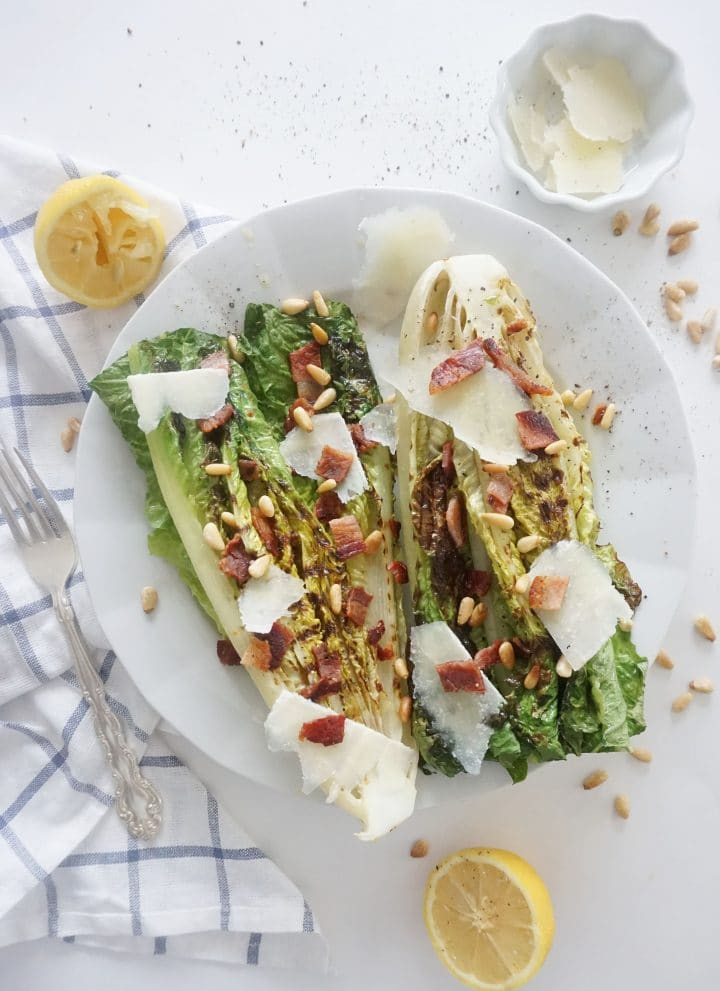 grilled romain hearts with pancetta, pecorino and pine nuts