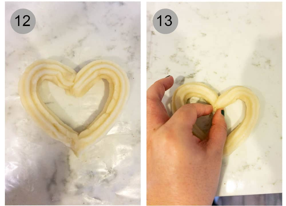 Step by step photos on how to make heart churros with nutella and mascarpone dipping sauces