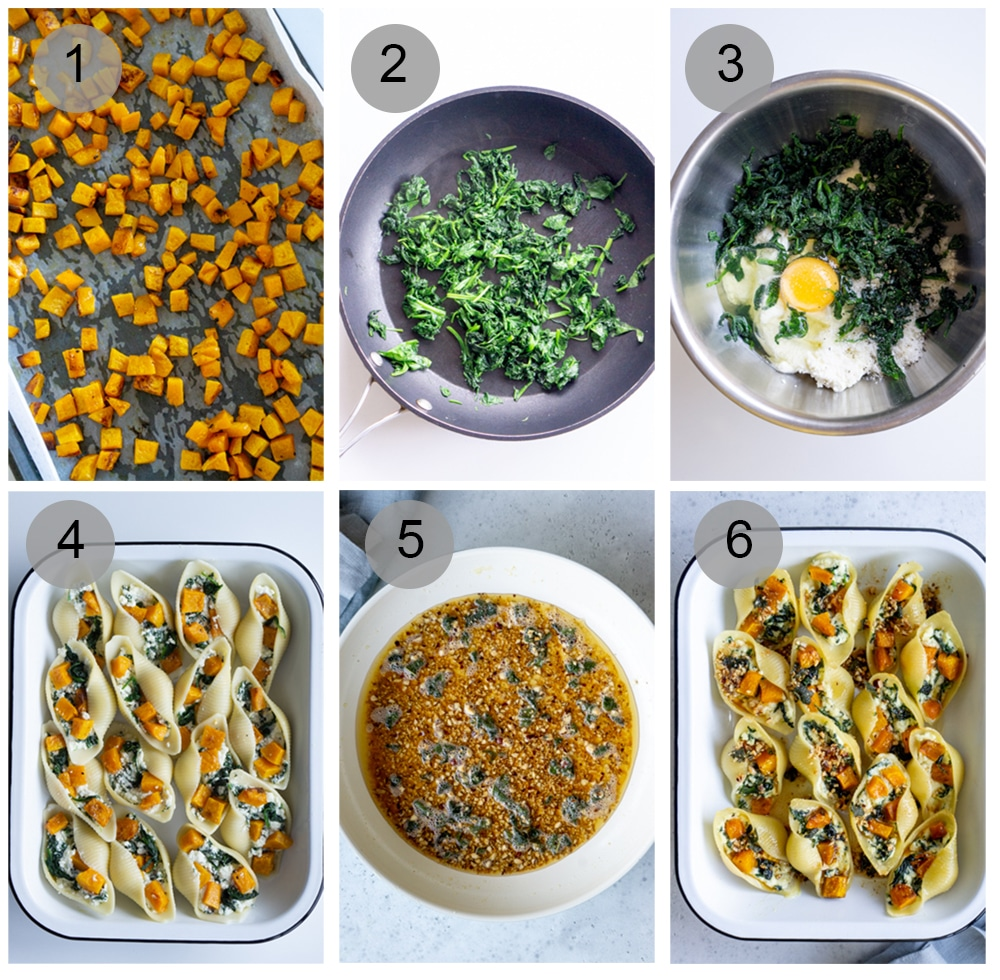 Step by step photos on how to make spinach stuffed shells