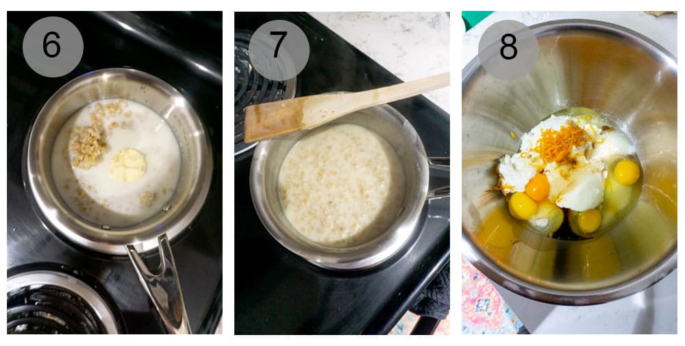 Step by step photos (6-8) on how to make pastiera napoletana