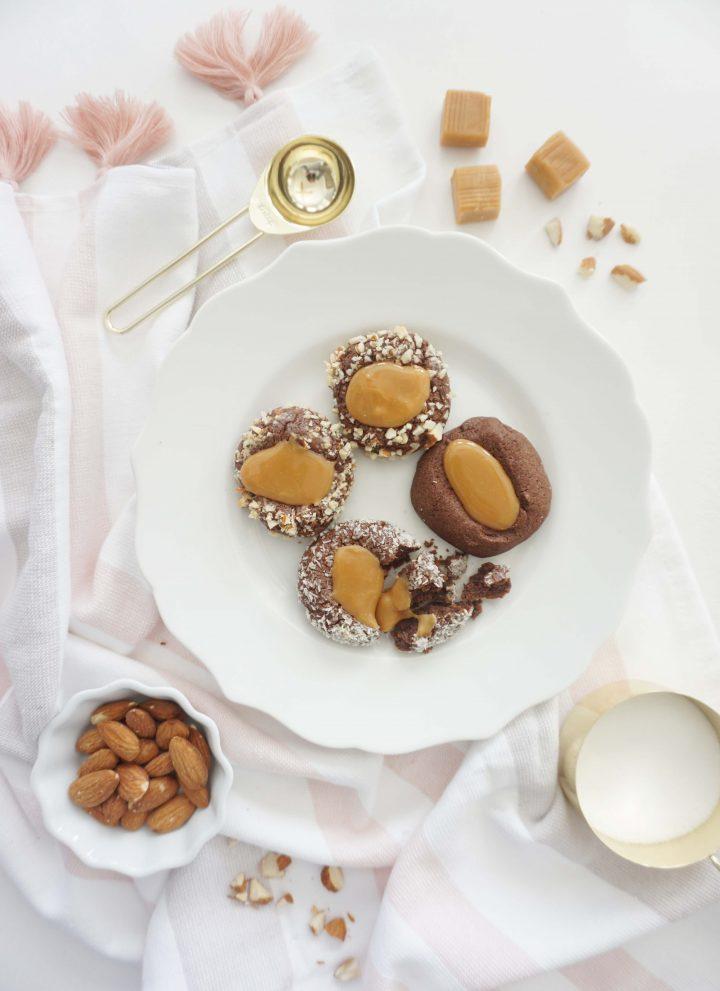 chcolate caramel thumbprints