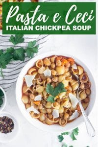 Pinterest image for Italian chickpea soup