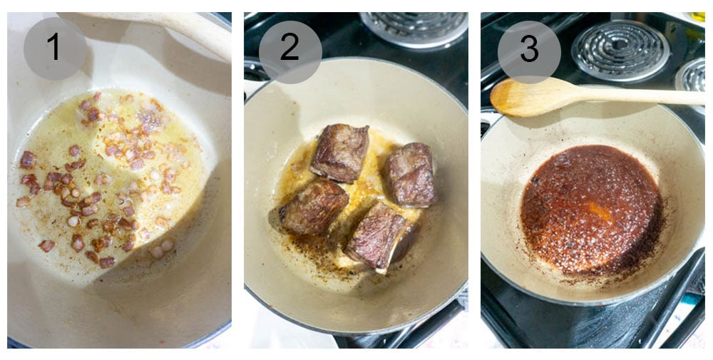 step by step photos on how to make beef short rib ragu (steps 1-3)