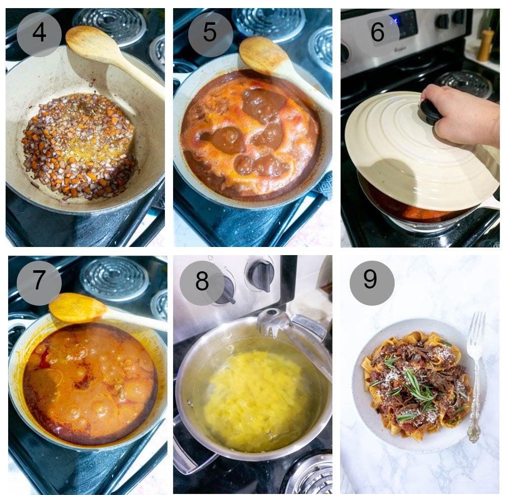 step by step photos on how to make beef short rib ragu (steps 4-9)