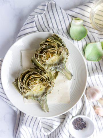 Fontina, Parmesan and Garlic-Roasted Artichokes