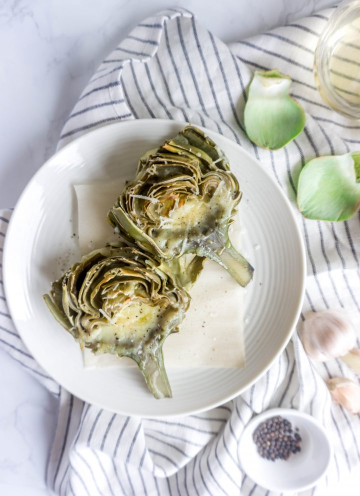 Fontina, Parmesan and Garlic-Roasted Artichokes