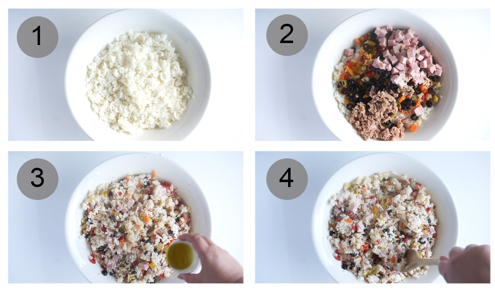 How to make rice salad - step by step (#1-4)