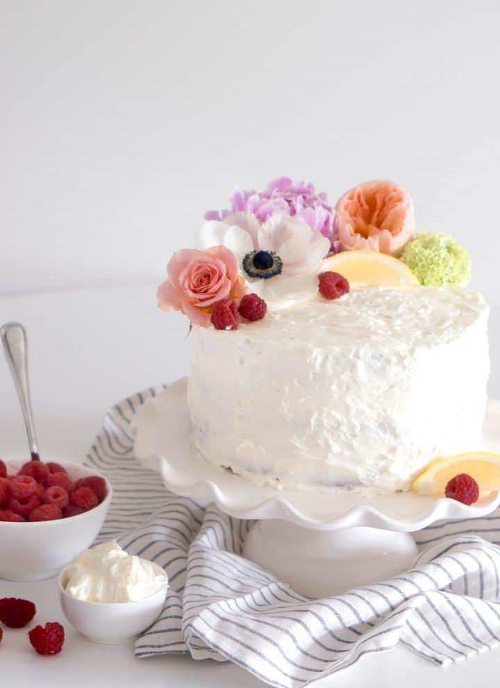 raspberry limoncello cake