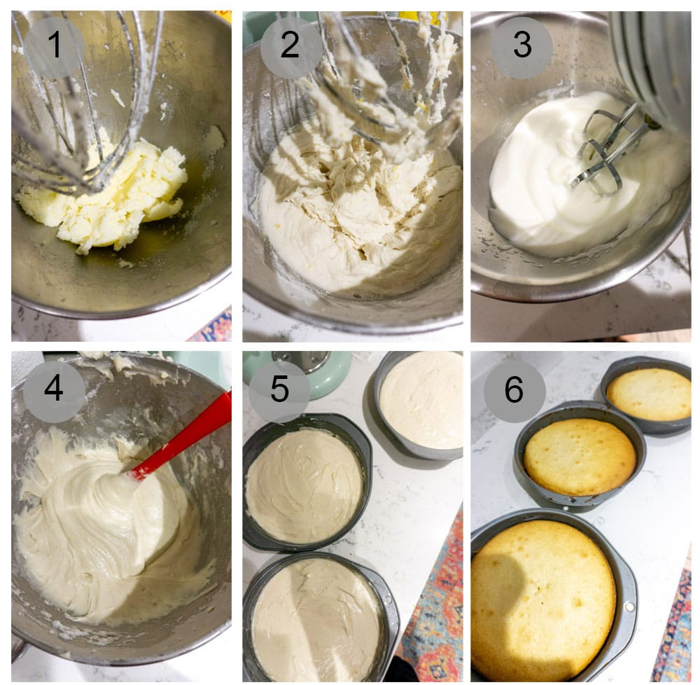 Step by step photos on how to make limoncello cake (steps 1-6)