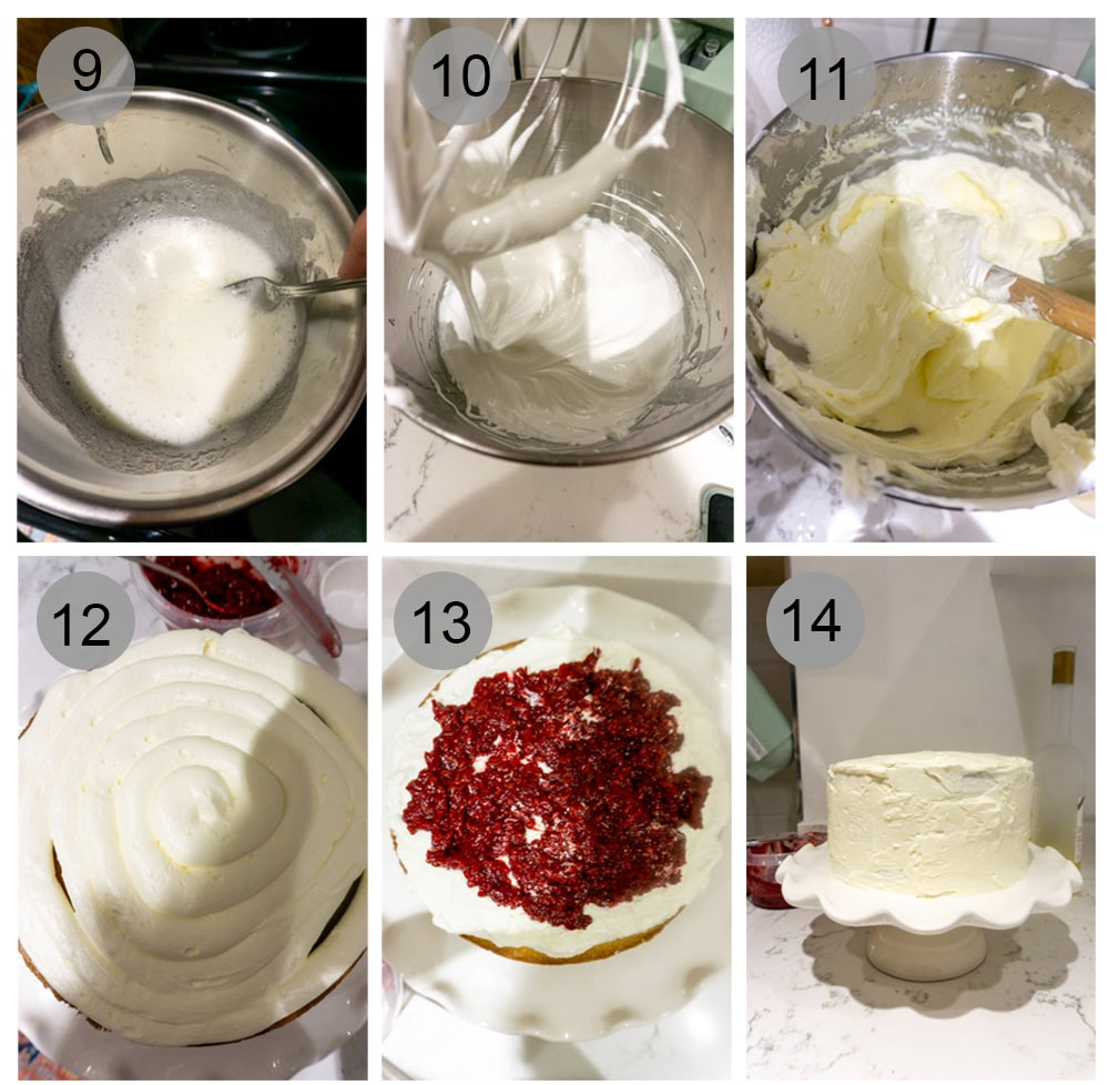 Step by step photos on how to make limoncello cake (steps 9-14)