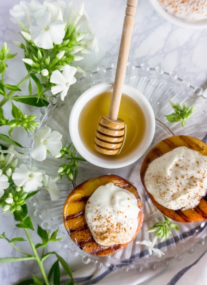 Grilled peaches with whipped vanilla bean and honey ricotta