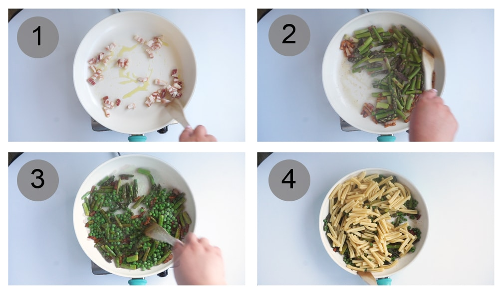 step by step photos on how to make asparagus pasta (steps 1-4)