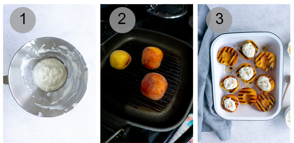 Step by step photos on how to grill peaches