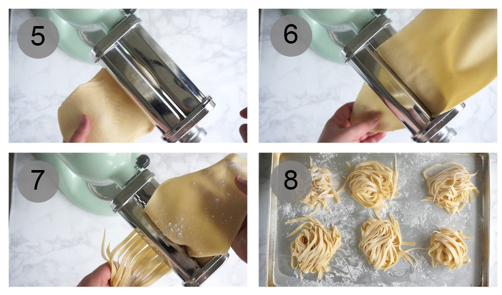 Step by step photos on hot to make homemade pasta dough with the KitchenAid mixer (steps 5-8)