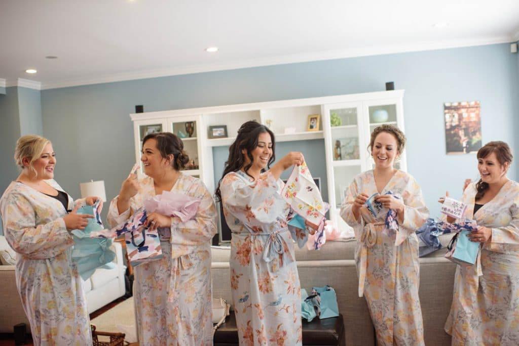 Gifting bridesmaids monogrammed handkerchiefs