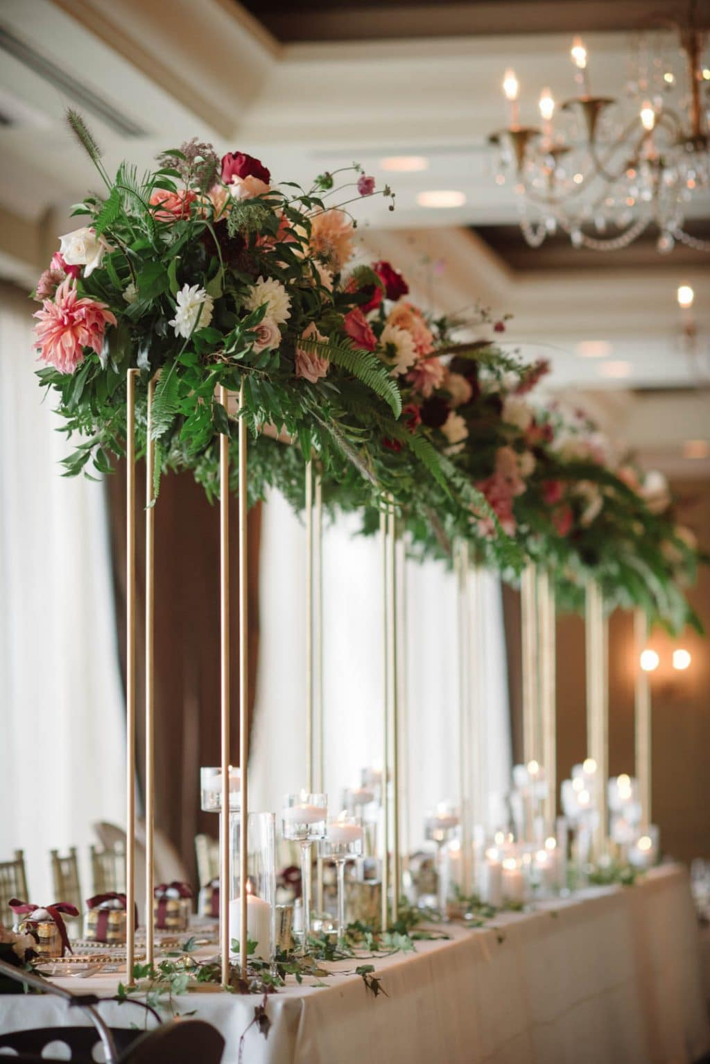 Floral installation for wedding head table
