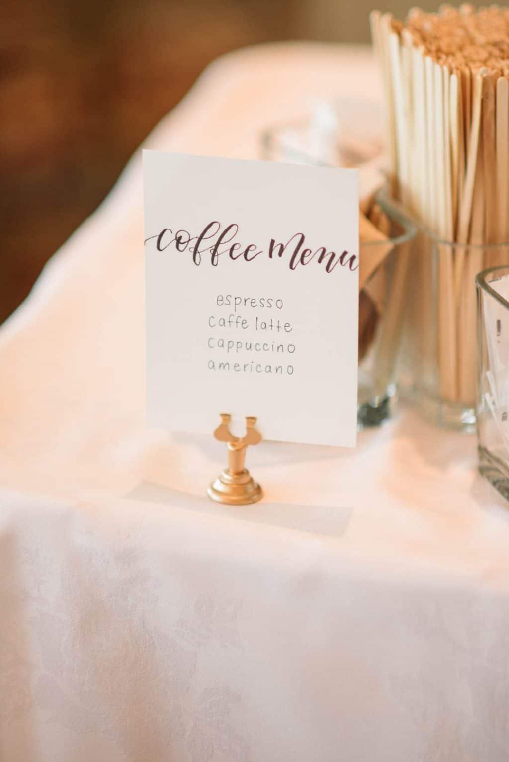 Wedding espresso bar menu