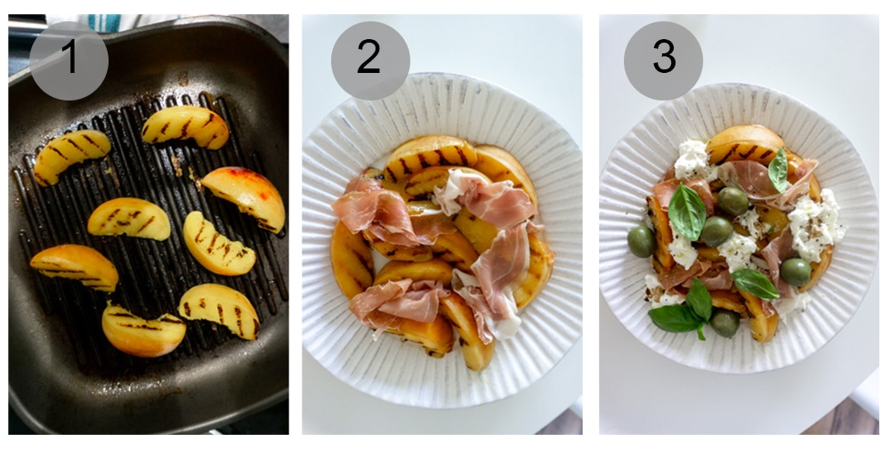 Step by step photos on how to make grilled peach salad with prosciutto and burrata