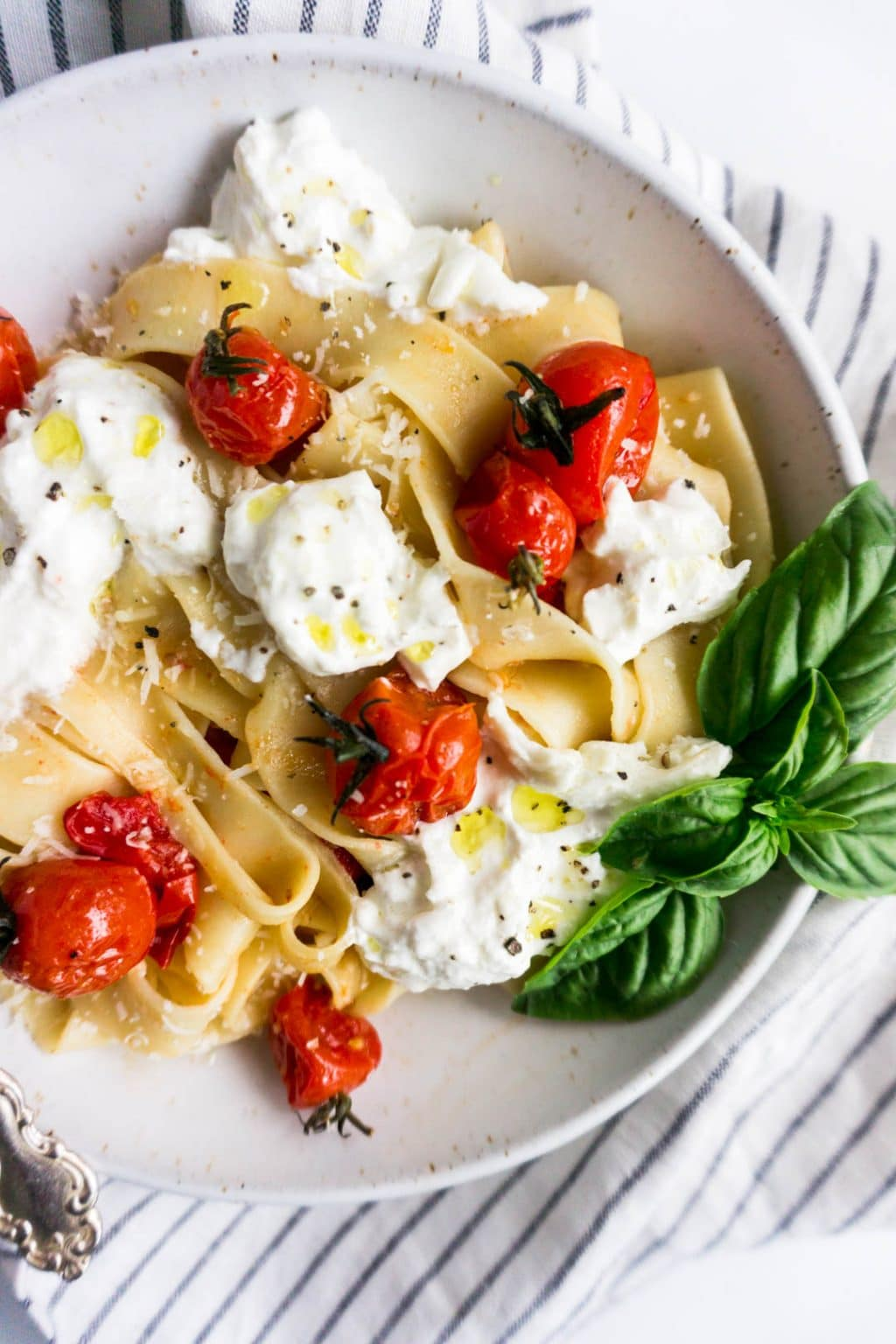 Pappardelle with burrata and burst cherry tomatoes