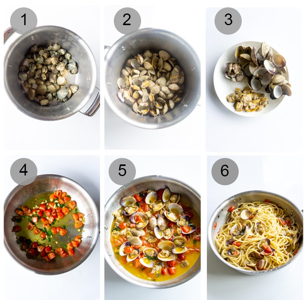 Step by step photos on how to make clam pasta