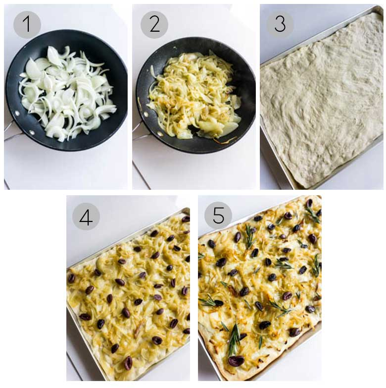 Focaccia with onions and olives process