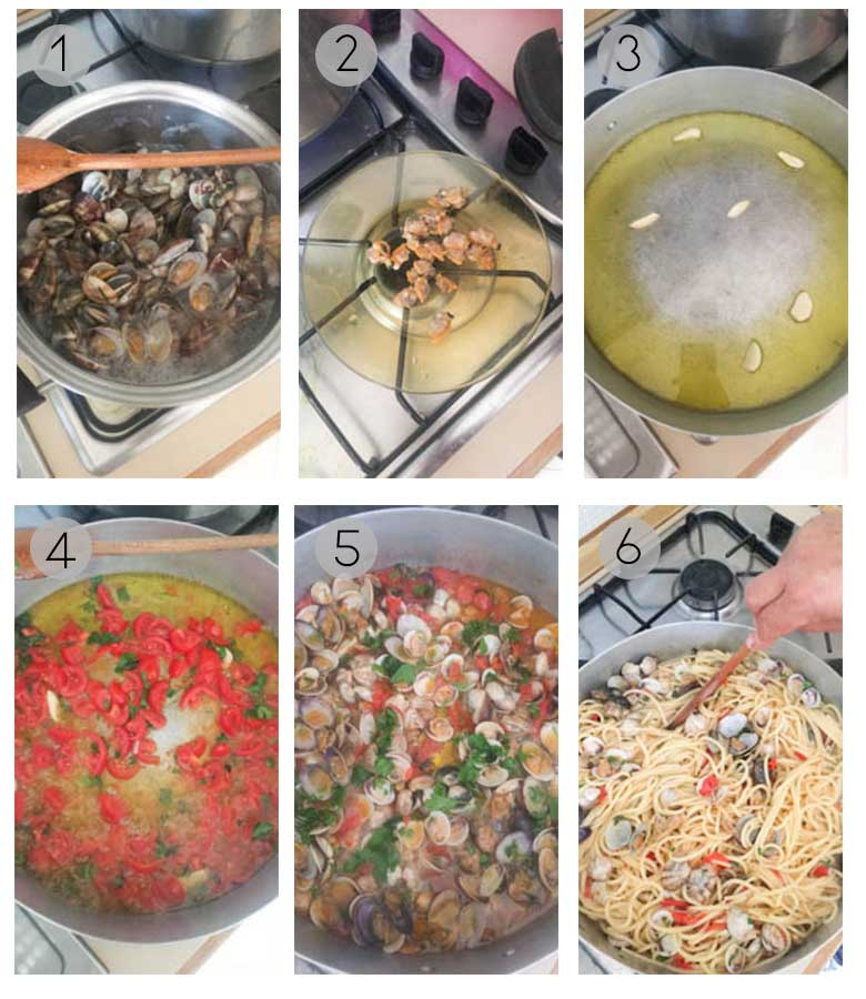 Pasta alle vongole - Spaghetti with clam and tomato sauce process step by step