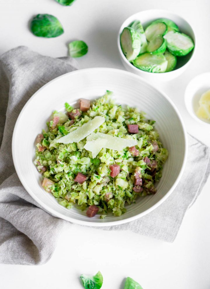 Warm brussel sprout salad with pancetta and pecorino