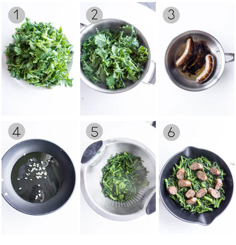 30 minute sausage and rapini - step by step process shots