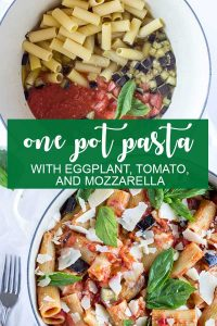 Eggplant pasta with tomato and mozzarella
