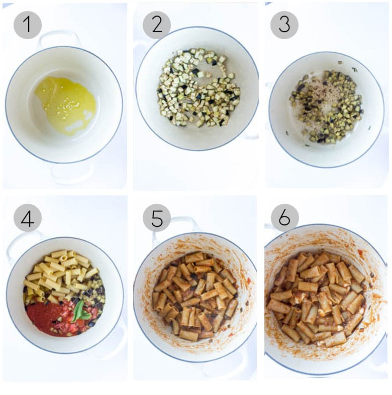 Step by step photos on how to make one pot eggplant pasta
