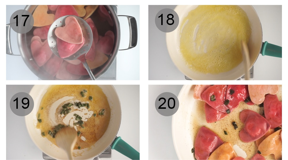 Step by step photos on how to make heart ravioli (#17-20)