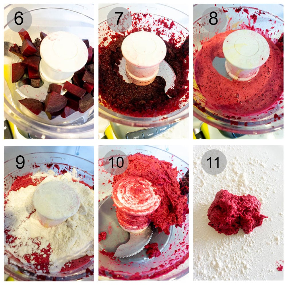 Step by step photos on how to make beet heart ravioli