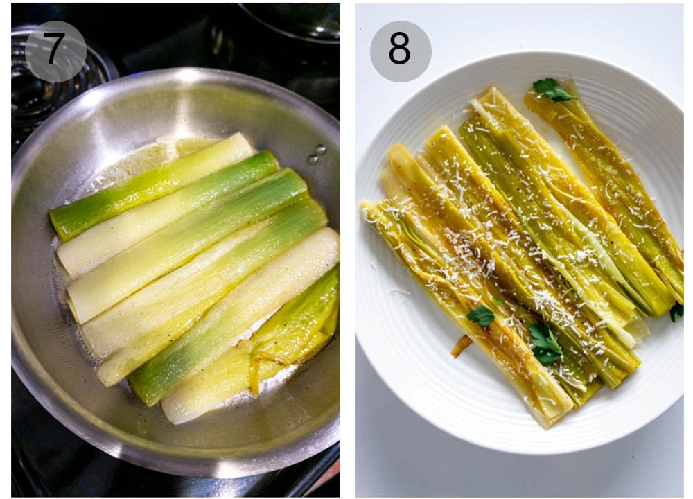How to make White Wine Braised Leeks- step by step