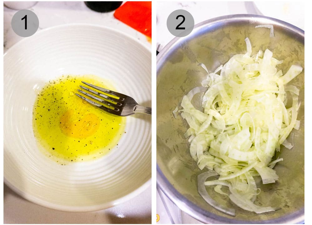 Step by step photos on how to make dressing for fennel salad