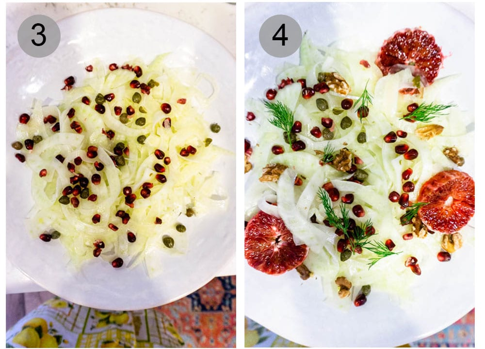 Step by step photos on how to assemble fennel salad