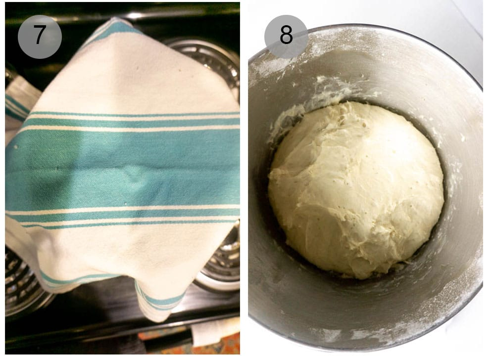 Step by Step photos #7-8 on how to make pizza dough