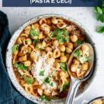Pinterest image for pasta e ceci