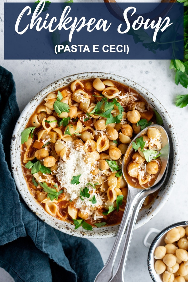 Pasta e Ceci Recipe - A vegetarian one pot Italian chickpea soup that is so easy to make! #pinacooks #pastaececi #italianfood #chickpeasoup #italianrecipes