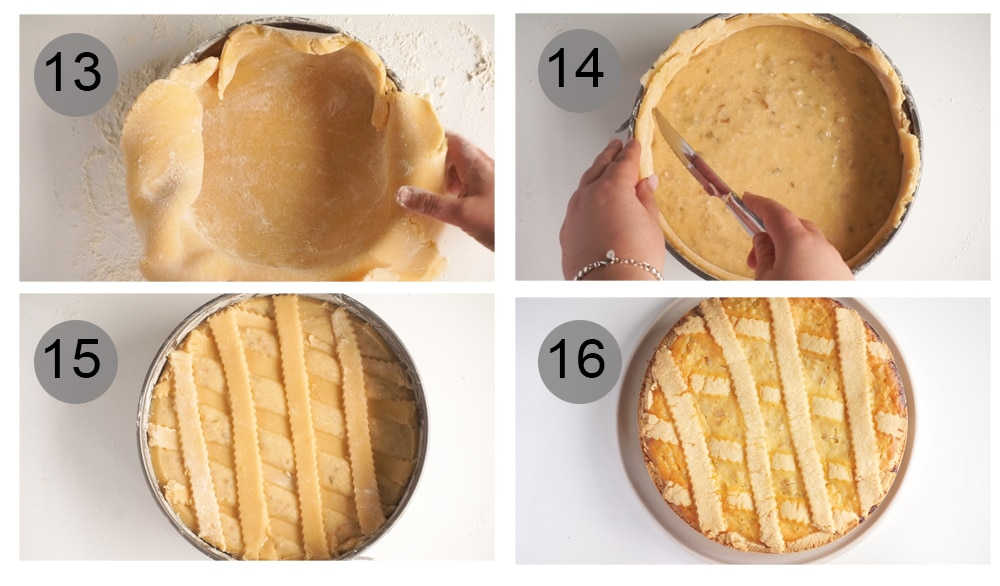 Step by step photos on how to make pastiera napoletana (#13-16)