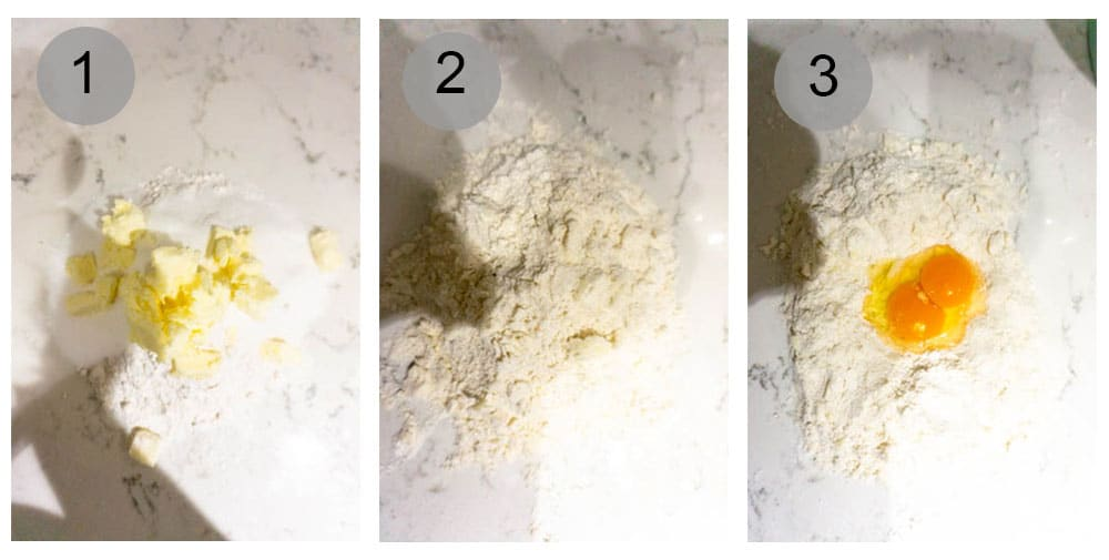 Step by step process (1-3) on how to make pastiera di riso (Italian Easter rice pie)