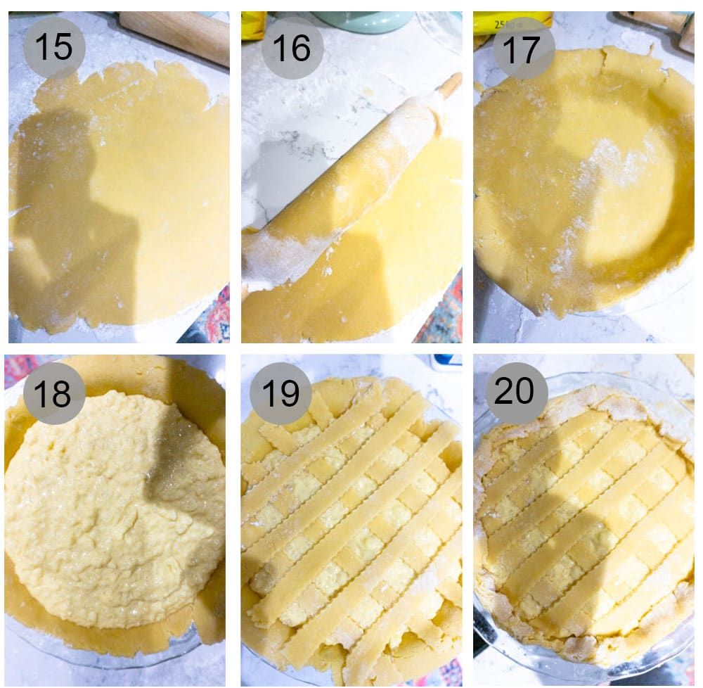Step by step process (15-20) on how to make pastiera di riso (Italian Easter rice pie)