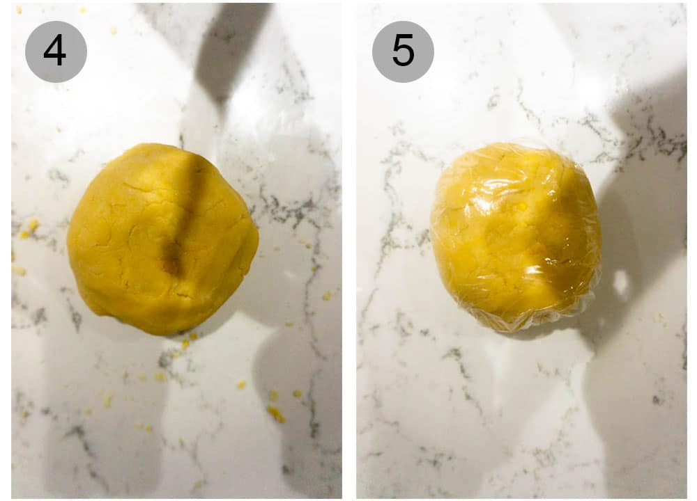 Step by step process (4-5) on how to make pastiera di riso (Italian Easter rice pie)