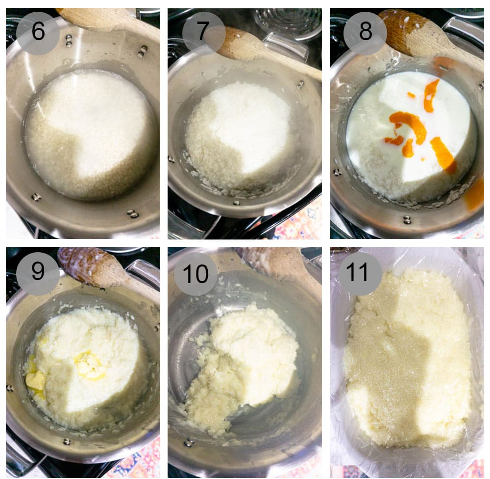 Step by step process (6-11) on how to make pastiera di riso (Italian Easter rice pie)