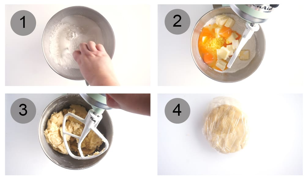 Step by step photos on how to make rice pie (#1-4)