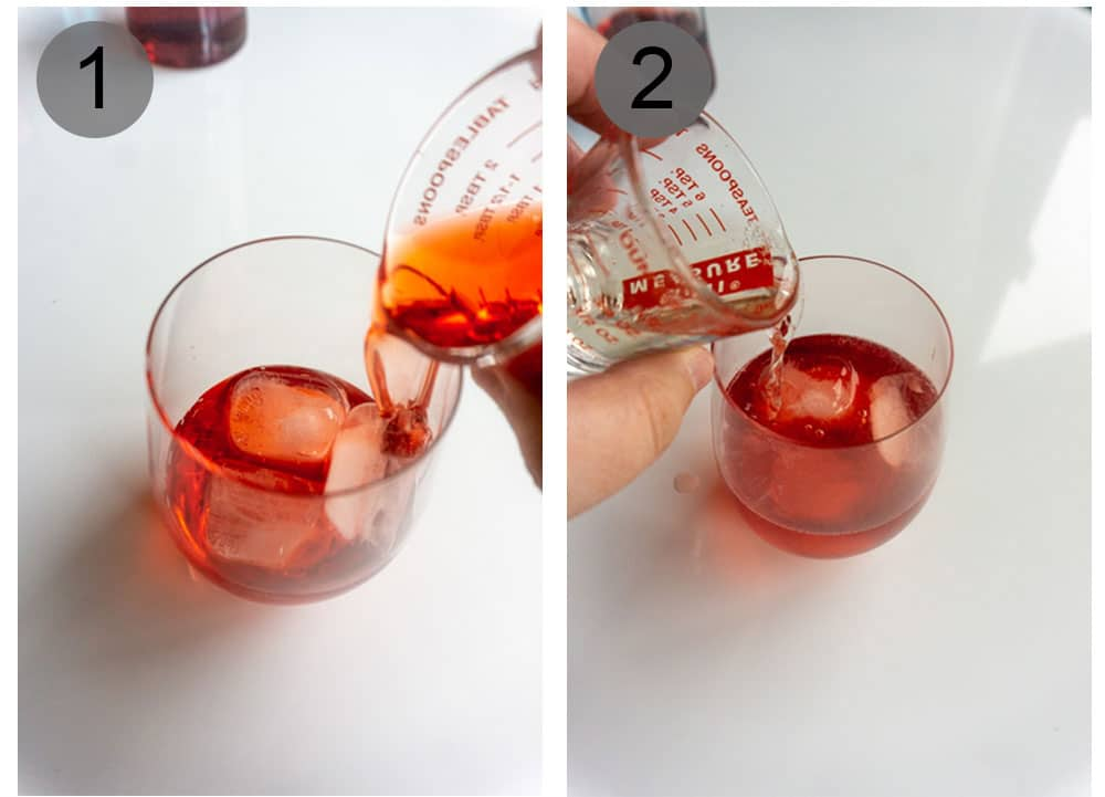Steps 1-2 on how to make a campari spritz