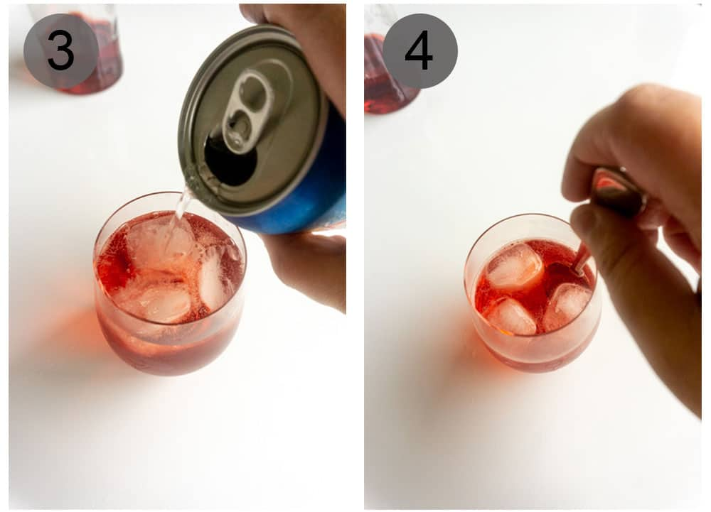Steps 3-4 on how to make a campari spritz